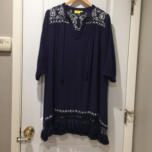 Roberta Roller Rabbit Navy Tunic Fringe Dress M